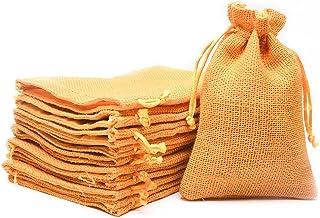 SHUBH LABH Royal Drawstring bags Jute Linen Gift Bags Potli Bags Burlap bags Return Gifts Bags Diwali Gifting Bags (7 inch...