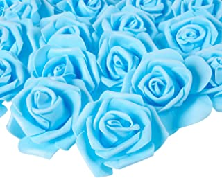 Juvale Rose Flower Heads - 100-Pack Artificial Roses, Perfect Wedding Decorations, Baby Showers, Crafts - Blue, 3 x 1.25 x 3 inches