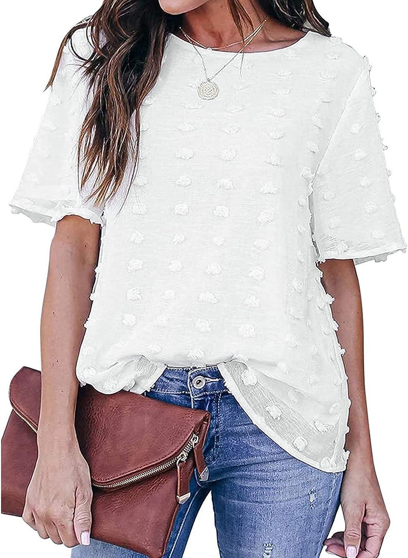 Womens Chiffon Blouses Summer Casual Round Neck Short Sleeves Shirts Tops Lantern Sleeve Tops Workwear Shirts