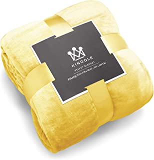 Kingole Flannel Fleece Microfiber Throw Blanket, Luxury Yellow Queen Size Lightweight Cozy Couch Bed Super Soft and Warm Plush Solid Color 350GSM (90 x 90 inches)