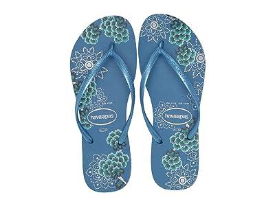 Havaianas Slim Organic Flip Flops (Blue/Metallic) Women