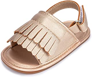 Morbido Infant Baby Girl Sandal Premium Soft Rubber Sole Anti-Slip Summer Bow Shoe Toddler Flats First Walkers Crib Shoe