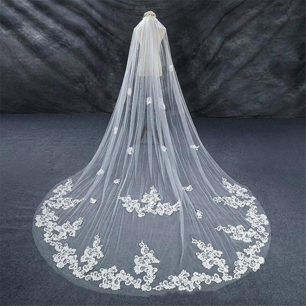 Bridal Veil Long Party Wedding Accessories Lace Applique Flower Cathedral Veil with Metal Comb Front 3.5 Meter Length Veil Ivory 829