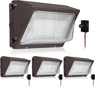 Hykolity High-Output LED Wall Pack with Photocell,75W 9100lm [400W MH Equivalent] Dusk to Dawn Outdoor Commercial LED Area Security Light,0-10V Dimmable,5000K Daylight, DLC Complied - 4 Pack