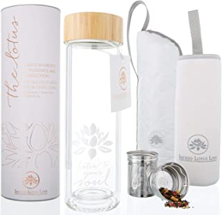 The Lotus Glass Tea Tumbler Travel Mug with Strainer + Tea Infuser Bottle for Tea, Coffee, Fruit Infusions. Double Walled ...