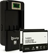 Two (2pk) Bastex Replacement Battery for Alcatel One Touch Fierce 2 D7040 3.8V 2000 mAh Plus One (1) Bastex External Dock LCD Battery Charger