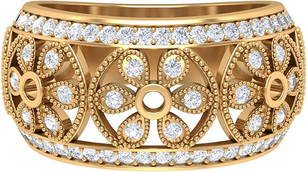 1.3 MM HI-SI Save money Round New arrival Diamond Filig Ring Gold Floral Wedding