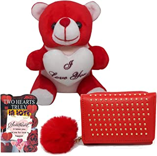 Saugat Traders Gift for Girlfriend Love Birthday Special - Small Red Teddy, Small Love Card & Mini Wallet Purse