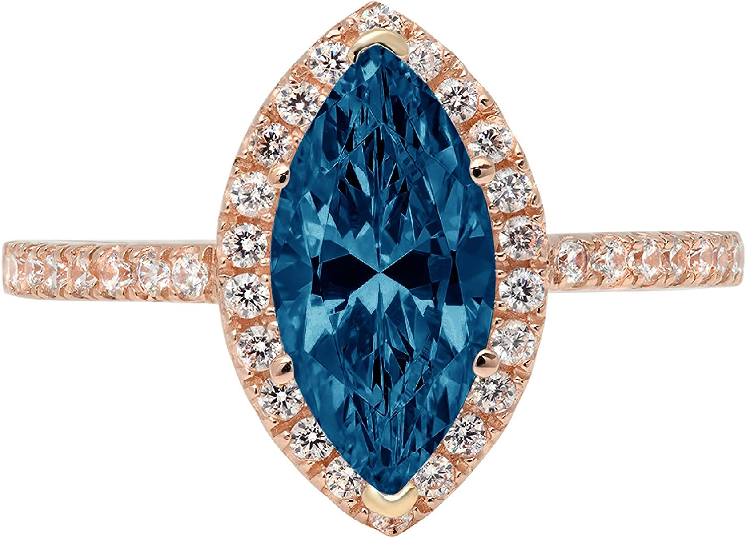 2.35ct Brilliant Marquise Cut Solitaire with Accent Halo Natural London Blue Topaz Gem Stone VVS1 Designer Modern Statement Ring Solid 14k Rose Gold Clara Pucci
