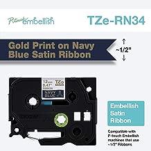 Brother P-Touch Embellish Print TZERN34 Satin Ribbon, Gold on Navy Blue