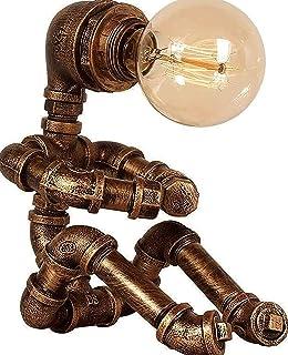 Lampa stołowa Robot-Retro Przemysłowy Steampunk Country Lampa stołowa-Retro Lampa stołowa domowa, nadaje się do sypialni, ...