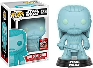 Funko Qui Gon Jinn [Glow-in-Dark] (2017 Galactic Convention Exclusive) POP! x Star Wars Vinyl Figure + 1 Official Star Wars Trading Card Bundle (13479)