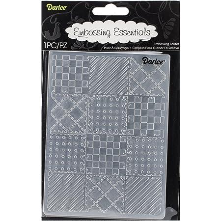 Darice 1219-131 Embossing Folder-Classeur de Gaufrage-Modèle Blocs Patchwork-10,8 x 14,6 cm, Plastique, Transparent, 10,8 x 14,6 x 0,3 cm