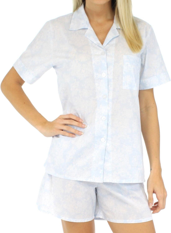 Sleepyheads Women's Sleepwear Cotton Short Sleeve ButtonUp Top and Shorts Pajama Set