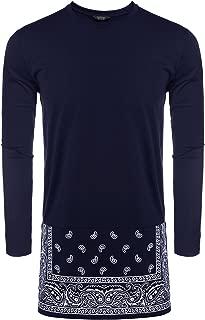 COOFANDY Men's Long Sleeve Hipster Hip-hop Long Street T-Shirt African Dashiki Printed Tee Shirt