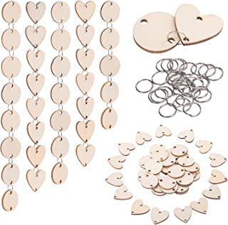 Favide 200 Pieces in Total, Wooden Circles Wooden Heart Tags with Holes and 12 mm Rings for Birthday Boards, Valentine, Chore Boards, Arts and Crafts (Set 1)