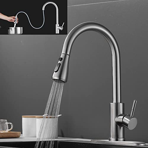 2021 Pull Out Kitchen Faucet Single Handle with Pull Down Sprayer Brushed Nickel, 3 Water Modes Stream popular Spray Pause, outlet sale 360 Degree Swivel High Arc Kitchen Faucet with Deck Plate Easy to Install outlet sale