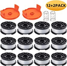 "ZONOWN 12 Pack Weed Eater Replacement Spools Compatible with Black&Decker AF-100 LST420 GH900 String Trimmer, 30ft 0.065"" Trimmer Line, 2 Pack Spool Cap & Spring(12 Spool,2 Cap&Spring)"