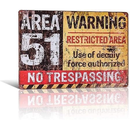 Yunuo Lustige Dekorationen Vintage Warnschilder Area 51 Garage Poster Kunst