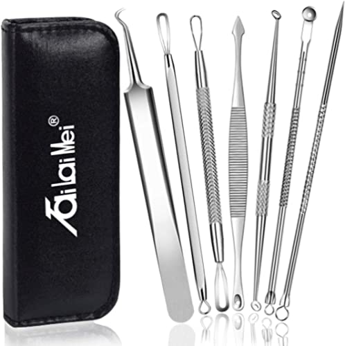 7-Piece Blackhead Remover Kit - Pimple Comedone Extractor Tool set for Facial Acne and Treatment for Blemish, Whitehe...