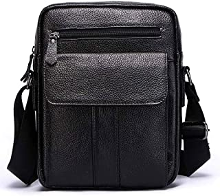 Mens Leather Bag Retro Genuine Leather Men's Bags and Cowhide Business Leisure Men's One-Shoulder Inclined Bags Bag (Color : Black, Size : S)