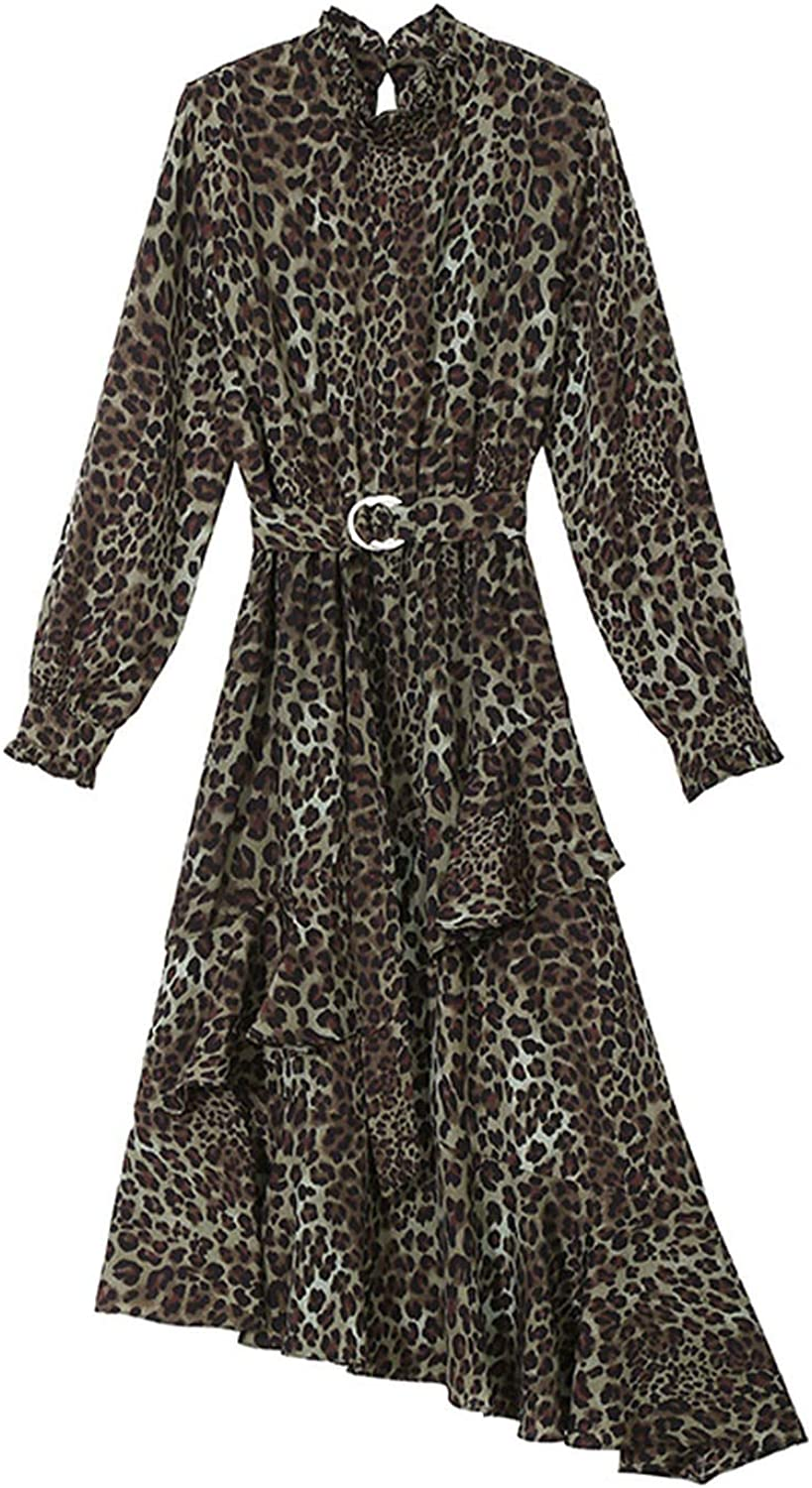 AllAboutUs Women Spring Yellow Leopard Dress with Sashes Long Sleeve Slopping Dress 4628