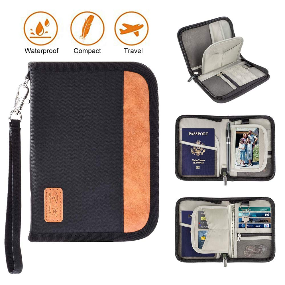 Travel Wallet Passport Holder With RFID Blocking Water Resistant Zipper Card Wallet For Men Women Family Business