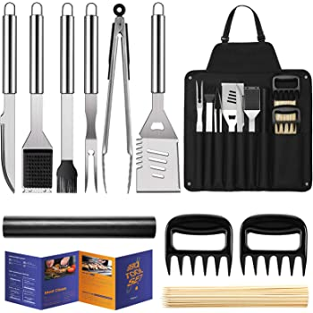 "Veken BBQ Grill Accessories, Grill Utensils Set, 16"" Stainless Steel BBQ Tools Set for Men & Women Grilling Accessories with Storage Apron Gift Kit for Camping/Backyard Barbecue"