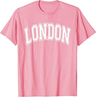 London Varsity Style Pink with White Text T-Shirt