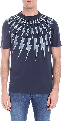Neil Barrett Homme PBJT435SH514S2089 Bleu Coton T-Shirt