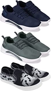 Bersache Sports (Walking & Gym Shoes) Running, Sneakers Shoes for Men Pack of 3 Combo(O)-1595-1596-689