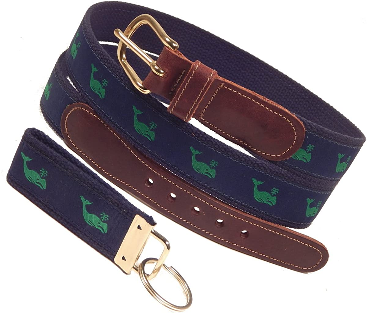 Preston Leather Classic Ribbon Belt, Green Whale, Navy, Navy Web, Sizes 30 to 50, Free Matching Key Ring