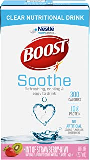 Boost Soothe Clear Nutritional Drink, Hint of Strawberry Kiwi - No Artificial Colors, Flavors or Sweeteners - 8 FL OZ (Pac...