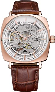 Classic Retro Casual Rectangle Golden Case Design Hollow Skeleton Men Mechanical Automatic Watches