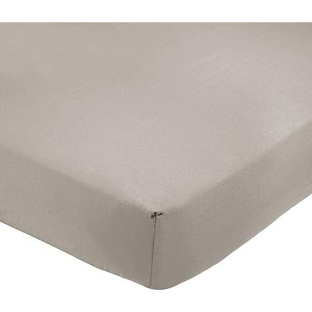 Amazon Basics Drap-housse en polycoton 200fils Gris 160 x 200 x 30 cm