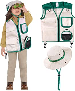 Safari Costume Cargo Vest and Hat for Kids, Outdoor Explorer Kits and Role Play for Park Ranger, Paleontologist, Zookeeper, Jane Goodall Costume,Great Backyard Safari Gift for Adventure Boys and Girls