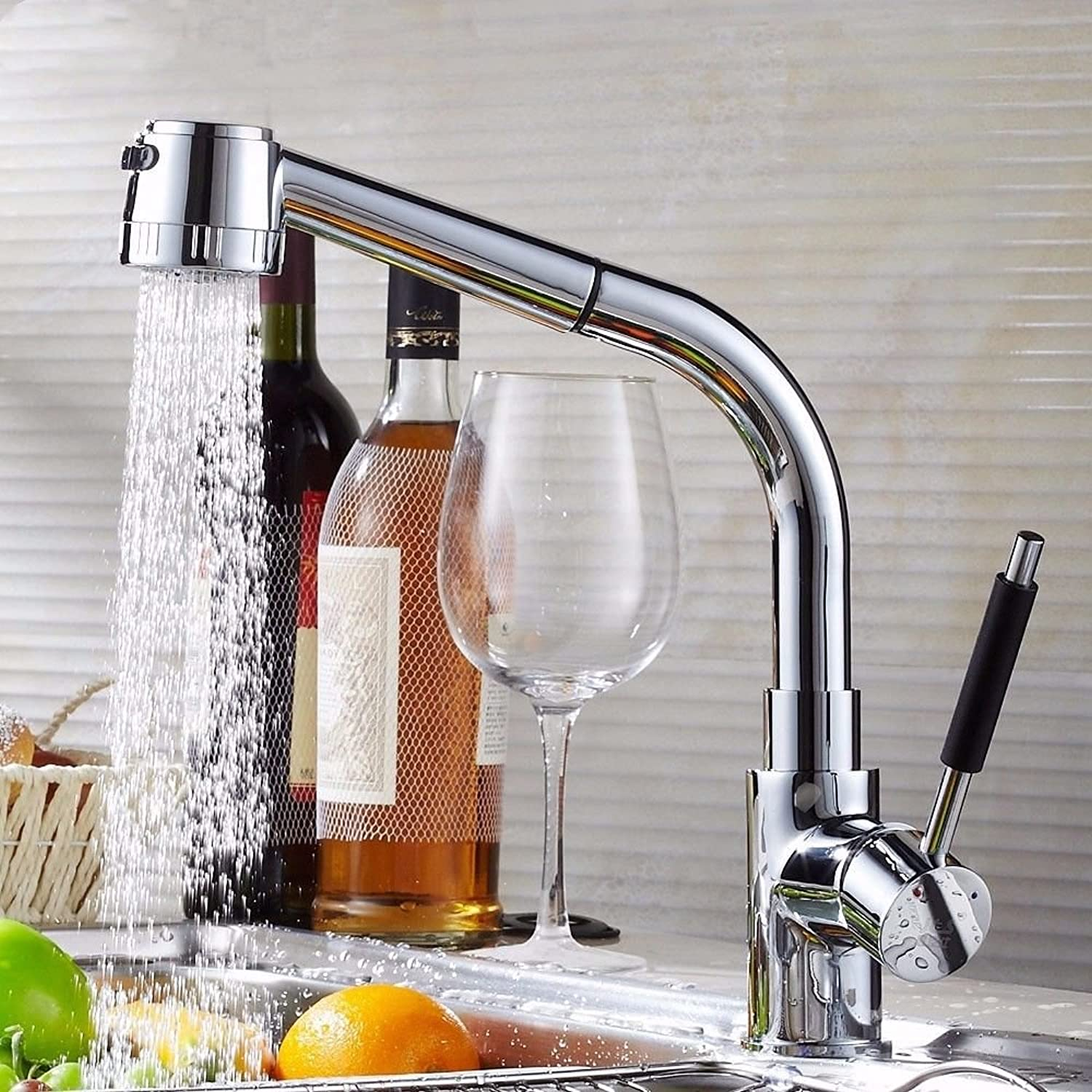 Lalaky Taps Faucet Kitchen Mixer Sink Waterfall Bathroom Mixer Basin Mixer Tap for Kitchen Bathroom and Washroom Pull-Type Hot and Cold Copper Body Can Be redated
