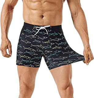 MaaMgic Men's Swimwear 4 Way Stretch Swimsuits, Solid Mens Swim Boxer Trunks Men Surf Shorts with Pockets