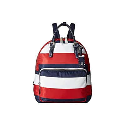 Tommy Hilfiger Julia Double Handle Backpack (Navy/Red/White) Backpack Bags