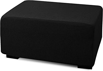 Argstar Jacquard Ottoman Covers Slipcover Rectangle for Living Room, Stretch Slipcover for Ottoman, Elastic Ottoman Slip Cover, Folding Storage Stool Furniture Protector (Large, Black)