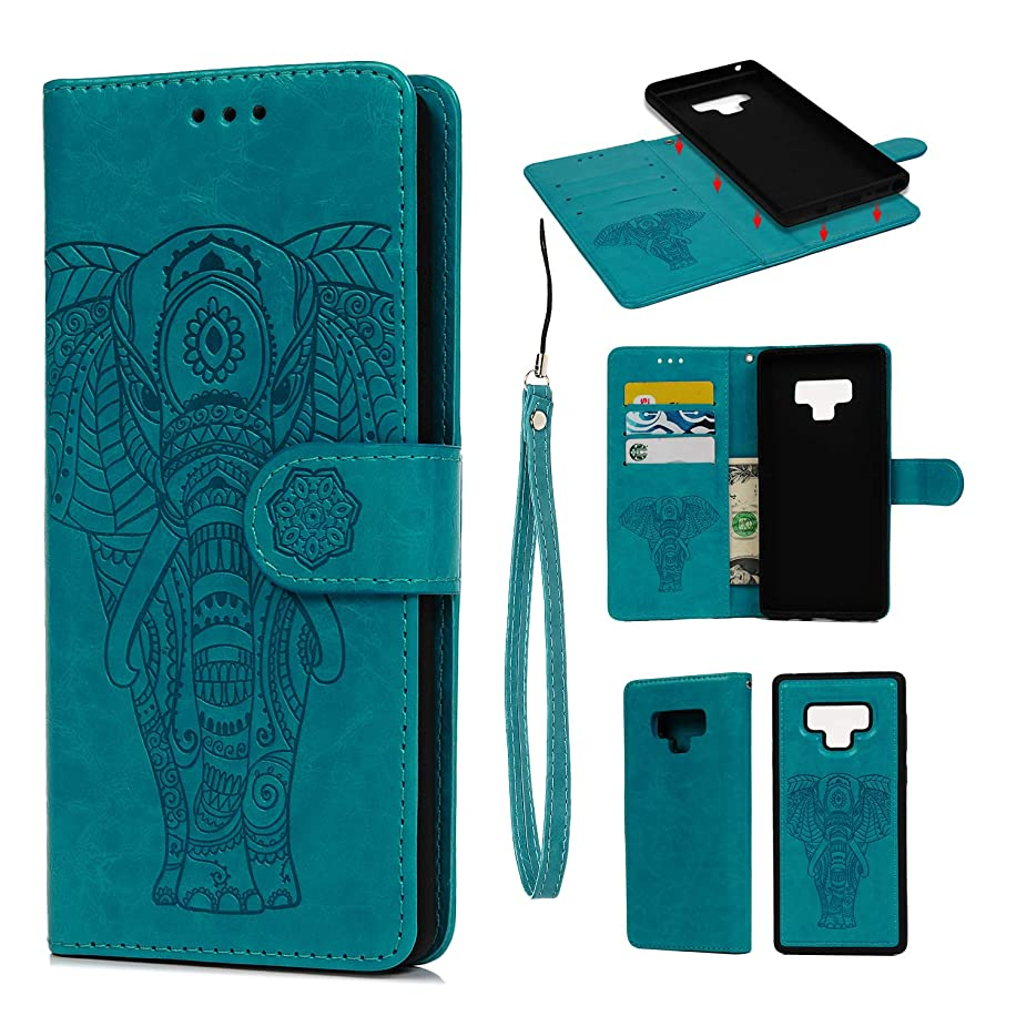 Galaxy Note 9 Case, Mavis's Diary Two-in-One Separation Wallet Case Fashion Premium PU Leather Wallet Embossed Elephant Floral Flip Shockproof Drop Resistant Case with Soft TPU Inner Cover - Blue