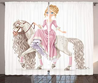 Ambesonne Feminine Curtains, Smiling Princess on a White Horse with a Long Mane Happiness Theme Print, Living Room Bedroom Window Drapes 2 Panel Set, 108
