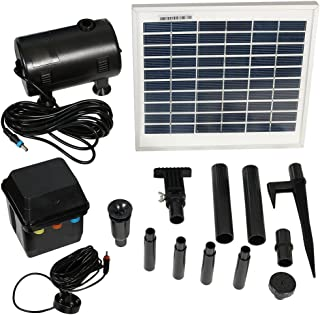 Sunnydaze Outdoor Solar Pump and Panel Fountain Kit with Battery Pack and LED Light, 132 GPH, 56-Inch Lift
