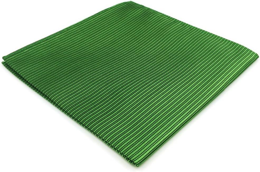 Tomeco EH19 Solid Green Striped Silk Mens Pocket Square Wedding Classic Handkerchief Fashion Dress Hanky