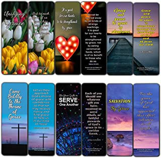 Bible Verses Bookmarks Cards About God's Marvelous Grace (12 Pack) - God's Amazing Grace Scriptures for Men Women - Stocking Stuffers Mothers Day Fathers Day Thanksgiving Christmas