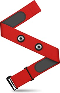 CooSpo Heart Rate Chest Strap Replacement Adjustable Elastic Band for Wahoo, Polar, Garmin, Strava, Zwift(Red-L)