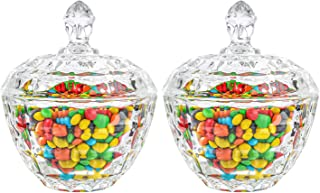 ComSaf Glass Candy Dish with Lid Decorative Candy Bowl, Crystal Covered Candy Jar for Home Office Desk, Set of 2 (Diameter...