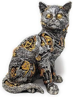 "DeJon Collectible Hand Painted Silver Gold Copper Steampunk Cat Figurine 6"" L X 8"" H X 5"" L"