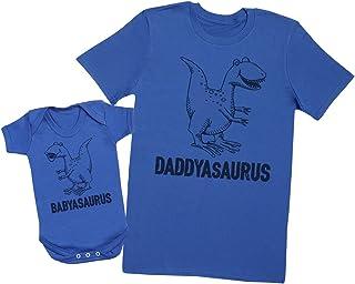 Zarlivia Clothing Daddysaurus & Babysaurus - Passende Vater Baby Geschenkset - Herren T-Shirt & Baby Strampler/Baby Body - L & 18-24 Monate