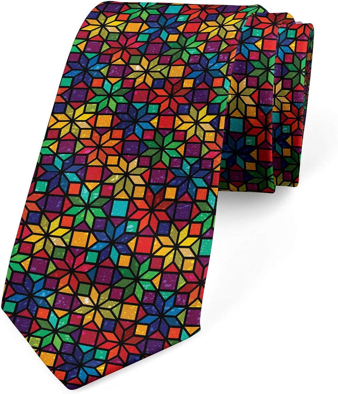 Ambesonne Men's Tie, Window Glass Pattern, Necktie, 3.7